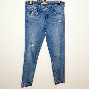 ❤️ Zara Distressed Cropped Skinny Jeans